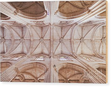 Gothic Ceiling Of The Batalha Monastery Church Wood Print by Jose Elias - Sofia Pereira