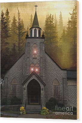 Gothic Old Church Autumn Forest Woodlands Wood Print by Kathy Fornal