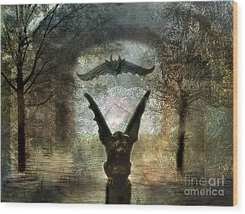 Gothic Surreal Fantasy Spooky Gargoyles  Wood Print by Kathy Fornal