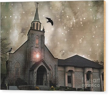 Gothic Surreal Haunted Church And Steeple With Crows And Ravens Flying  Wood Print by Kathy Fornal