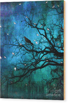 Gothic Surreal Nature Ravens Crow And Birds Wood Print by Kathy Fornal