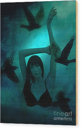 Gothic Surreal Ravens With Asian Girl  Wood Print by Kathy Fornal