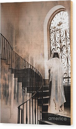 Gothic Surreal Spooky Grim Reaper On Steps Wood Print by Kathy Fornal
