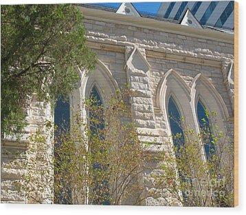 Gothic Windows - Austin Texas Church Wood Print by Connie Fox