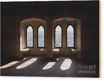 Gothic Windows Of The Royal Residence In The Leiria Castle Wood Print by Jose Elias - Sofia Pereira