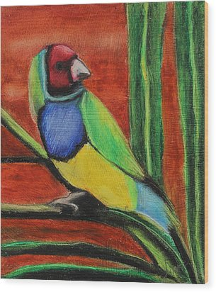 Wood Print featuring the painting Gouldian Finch by Jeanne Fischer