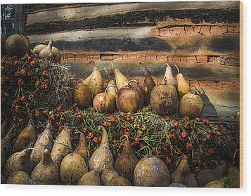 Gourds Wood Print by Debra and Dave Vanderlaan