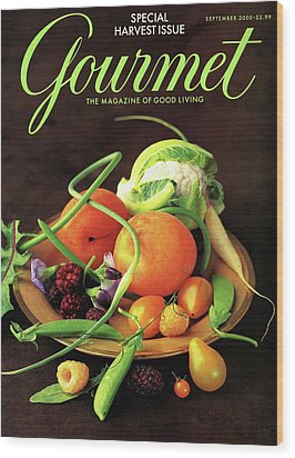 Gourmet Cover Featuring A Variety Of Fruit Wood Print