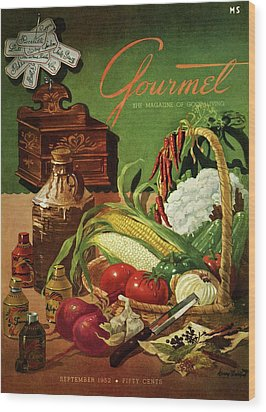Gourmet Cover Featuring A Variety Of Vegetables Wood Print by Henry Stahlhut