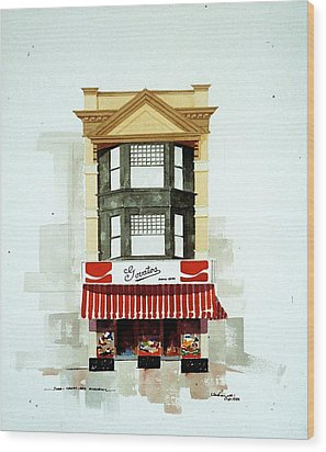Govatos' Candy Store Wood Print by William Renzulli