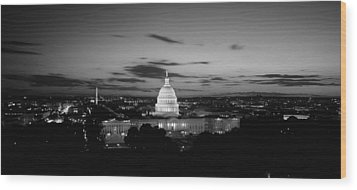 Government Building Lit Up At Night, Us Wood Print by Panoramic Images