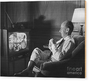 Wood Print featuring the photograph Adlai Stevenson 1952 by Martin Konopacki Restoration