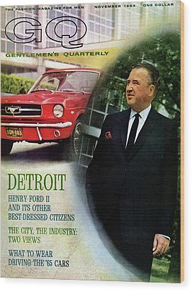 Gq Cover Of Henry Ford II And 1965 Ford Mustang Wood Print by Richard Nones