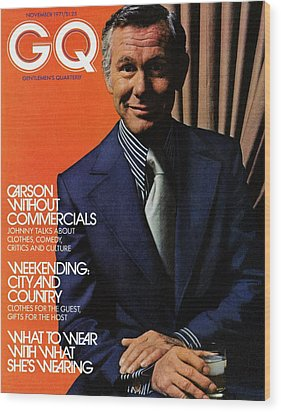 Gq Cover Of Johnny Carson Wearing Suit Wood Print by Bruce Bacon