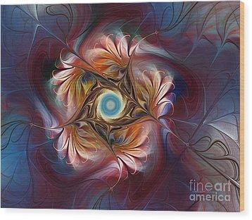 Grace And Elegance-floral Fractal Design Wood Print by Karin Kuhlmann
