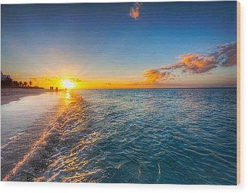 Grace Bay Beach Sunset Wood Print by Jo Ann Snover