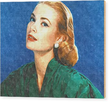 Grace Kelly Painting Wood Print by Gianfranco Weiss