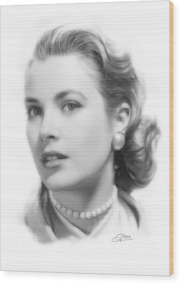 Grace Kelly Pencil Wood Print by Steve K