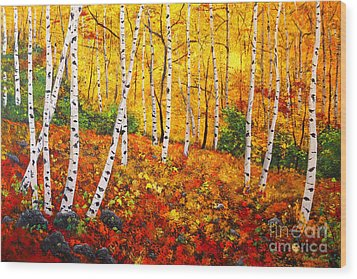 Graceful Birch Trees Wood Print by Connie Tom