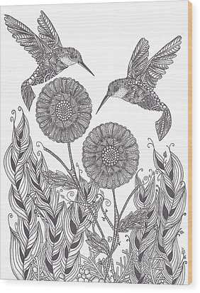 Graceful Humming Birds Wood Print