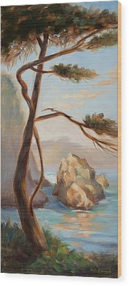 Graceful Pine In Afternoon Light At Point Lobos Wood Print by Karin  Leonard