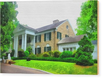 Graceland Mansion Wood Print by Dan Sproul