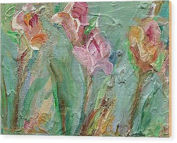Wood Print featuring the painting Grace's Garden by Mary Wolf