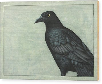 Grackle Wood Print by James W Johnson