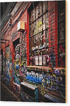 Graffiti Alley Wood Print