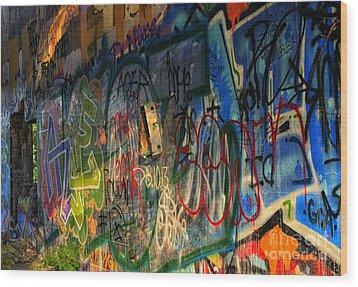 Graffiti Blues Wood Print