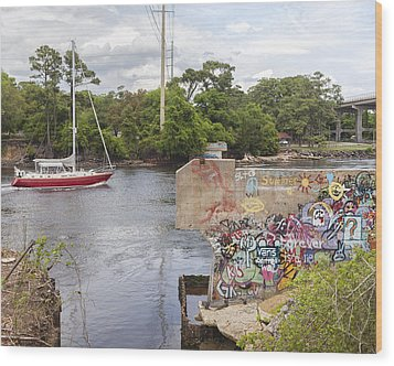 Graffiti Bridge Image Art Wood Print