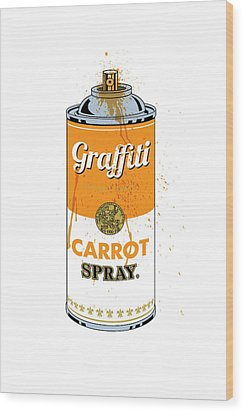 Graffiti Carrot Spray Can Wood Print