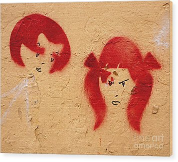 Graffiti Girls 02 Wood Print by Rick Piper Photography