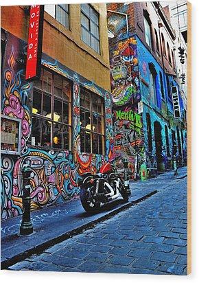 Graffiti Harley Shoes - Melbourne - Australia Wood Print