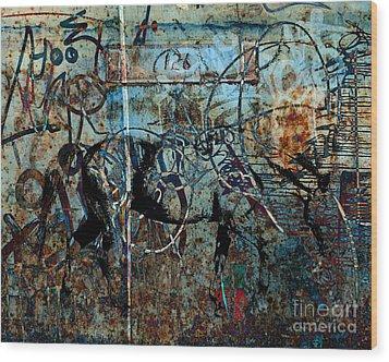 Graffiti Horse Blues Wood Print by Judy Wood