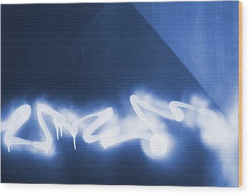 Graffiti Spray Blue Wood Print