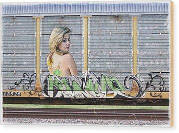 Graffiti - Tinkerbell Wood Print by Graffiti Girl