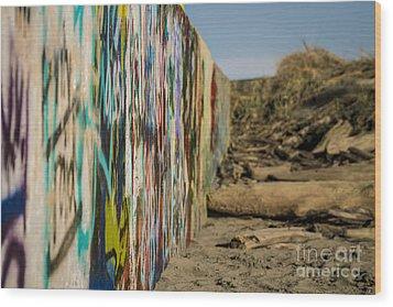 Graffiti Wall Wood Print by Arlene Sundby