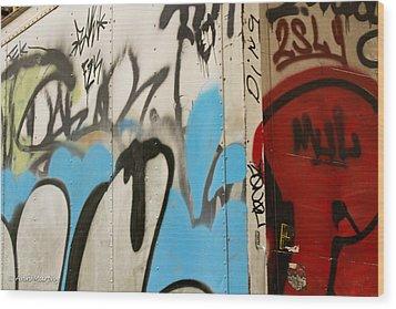 Wood Print featuring the photograph Graffiti Writing Nyc #2 by Ann Murphy