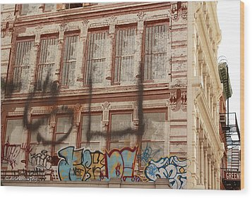 Wood Print featuring the photograph Graffiti Writing Nyc by Ann Murphy