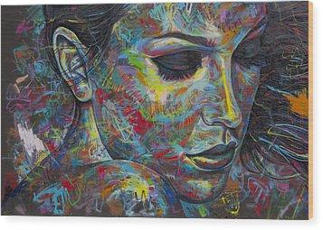 Grafitti Portrait Wood Print