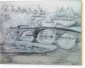 Graignamanagh Bridge River Barrow  Kilkenny Ireland  Wood Print by Trudi Doyle