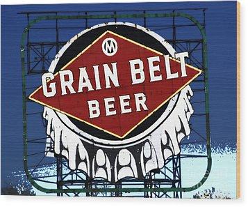 Grain Belt Blue Wood Print