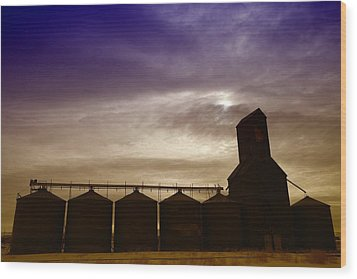 Grain Bins In Reserve Montana Wood Print by Jeff Swan