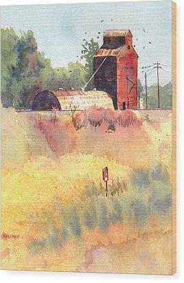 Grain Elevator Wood Print by Kris Parins