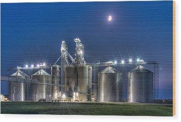 Grain Processing Plant Wood Print