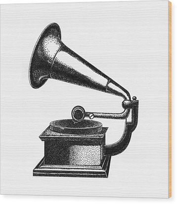 Gramophone Wood Print by Christy Beckwith