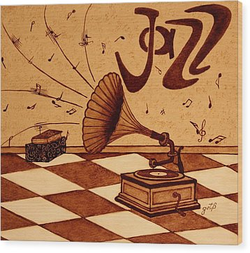 Gramophone Playing Jazz Music Painting With Coffee Wood Print by Georgeta  Blanaru