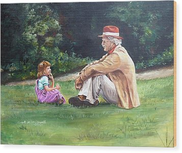 Grampa's Bible Stories Wood Print by Carole Powell
