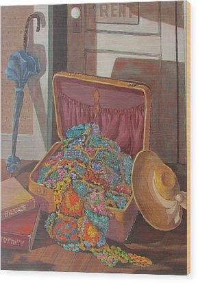 Wood Print featuring the painting Gram's Treasures by Tony Caviston